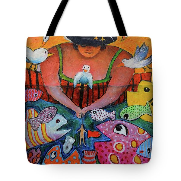 Tote Bag featuring the painting The Fisherman's Almanac by Jeremy Holton