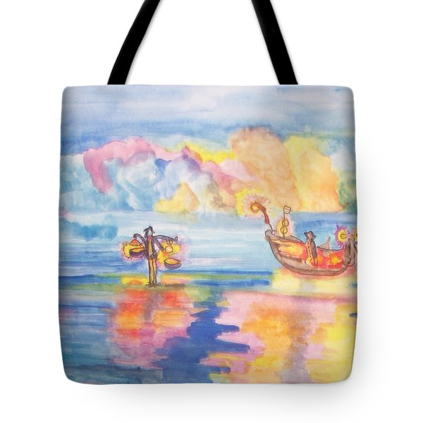 Tote Bag featuring the painting The Fishermen Come Home by Connie Valasco