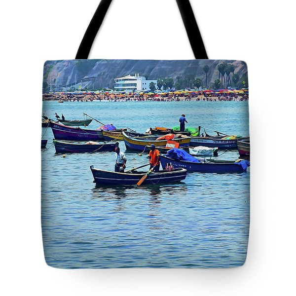 Tote Bag featuring the photograph The Fishermen - Miraflores, Peru by Mary Machare