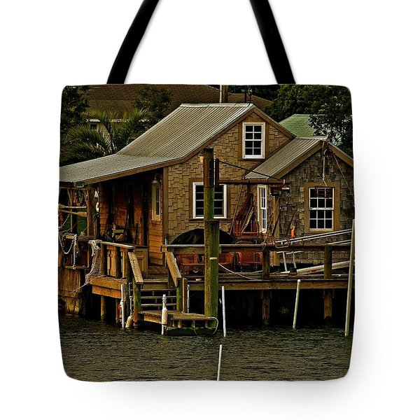 The Fishing Shack Tote Bag by John Harding