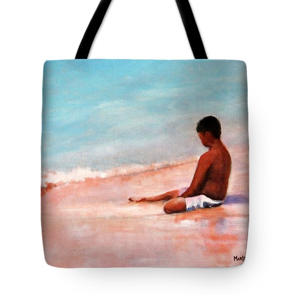 Tote Bag featuring the painting The First Wave Of Summer by Marti Green