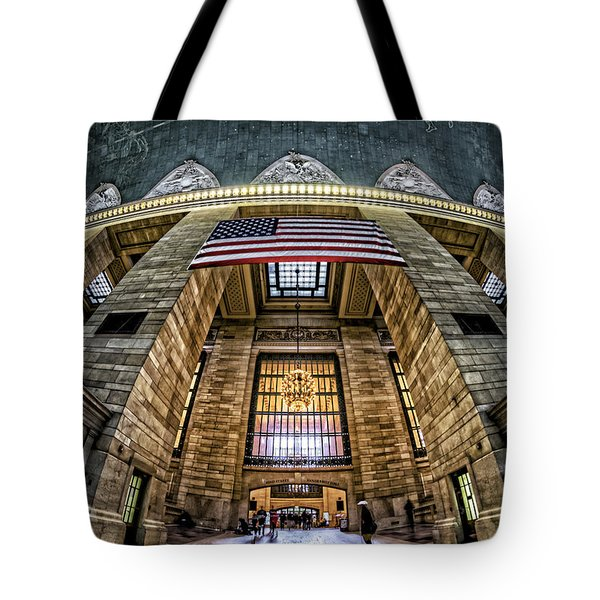 The Flag At Grand Central Station Tote Bag by Rafael Quirindongo