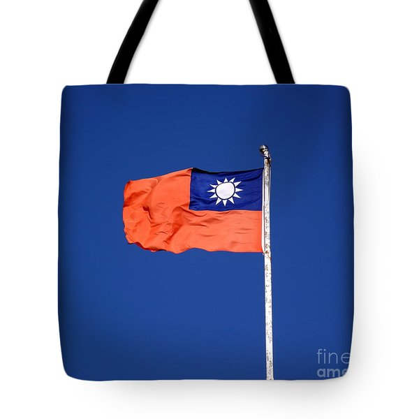 Tote Bag featuring the photograph The Flag Of Taiwan by Yali Shi