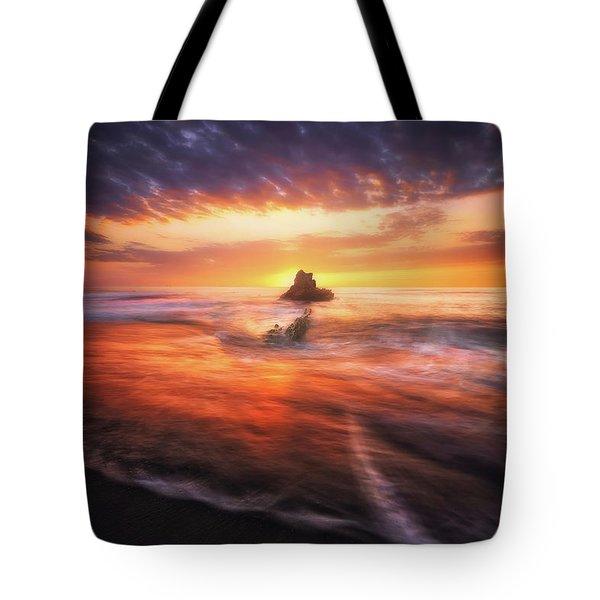 The Flaming Rock Tote Bag