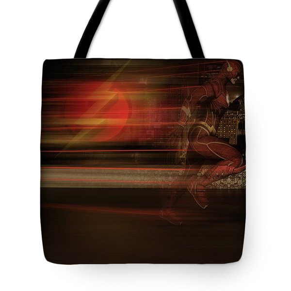 Tote Bag featuring the digital art The Flash  by Louis Ferreira