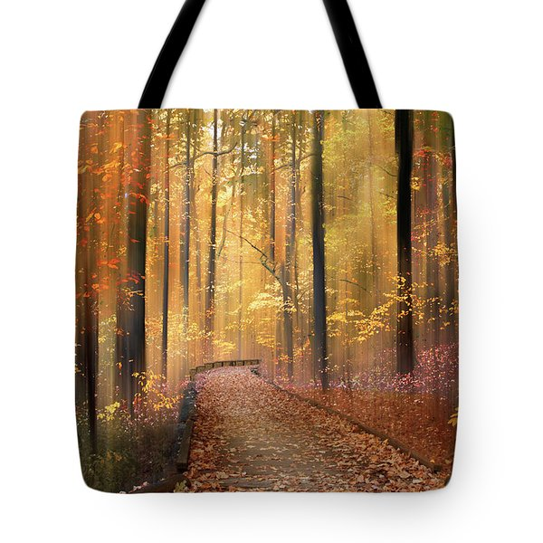 Tote Bag featuring the photograph The Flickering Forest by Jessica Jenney