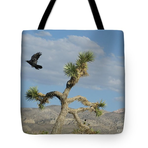 Tote Bag featuring the photograph The Flight Of Raven. Lucerne Valley. by Ausra Huntington nee Paulauskaite