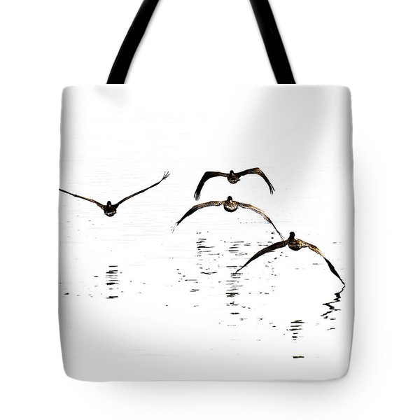 The Flight Of The Pelicans  Tote Bag