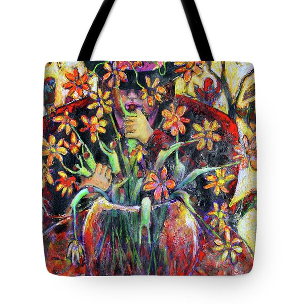 Tote Bag featuring the painting The Flower Arranger by Jeremy Holton