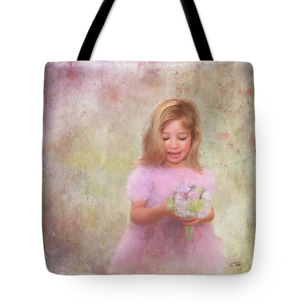 Tote Bag featuring the mixed media The Flower Princess by Colleen Taylor
