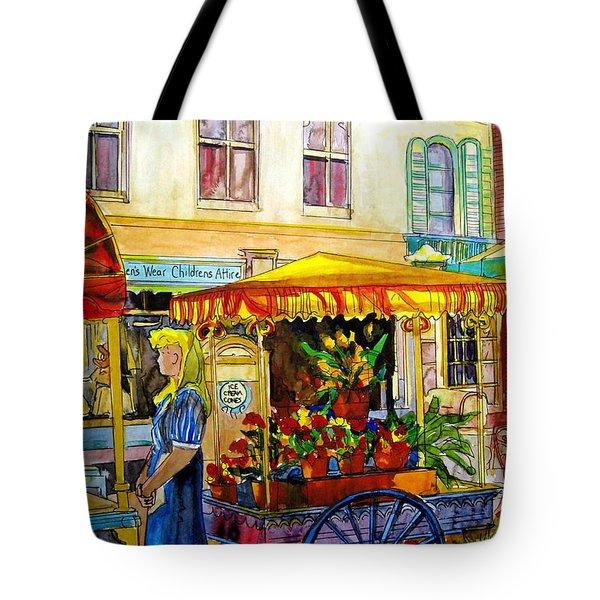 The Flowercart Tote Bag by Carole Spandau