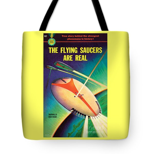 Tote Bag featuring the painting The Flying Saucers Are Real by Frank Tinsley