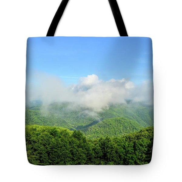 Tote Bag featuring the photograph The Fog Rises Over The Bluestone Gorge - Pipestem State Park by Kerri Farley