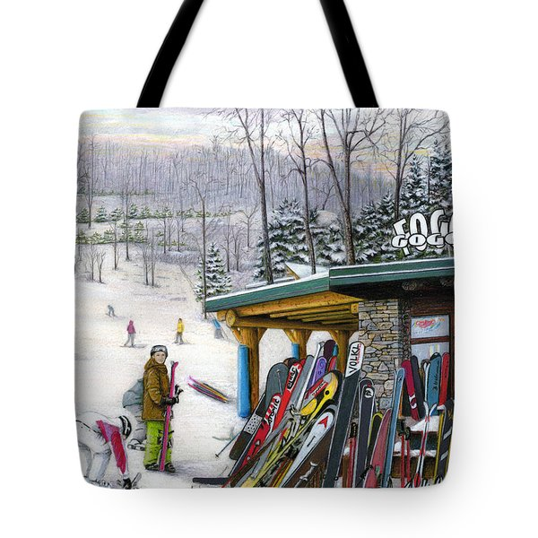 Tote Bag featuring the painting The Foggy Goggle At Seven Springs by Albert Puskaric