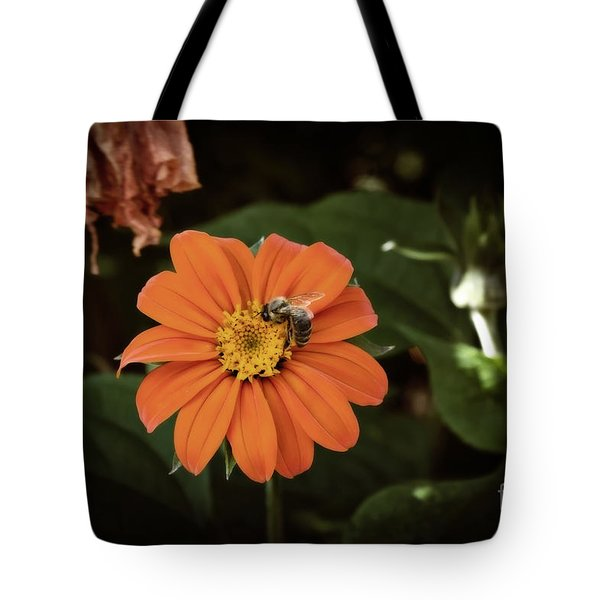 Tote Bag featuring the photograph The Foraging Bee by Cendrine Marrouat