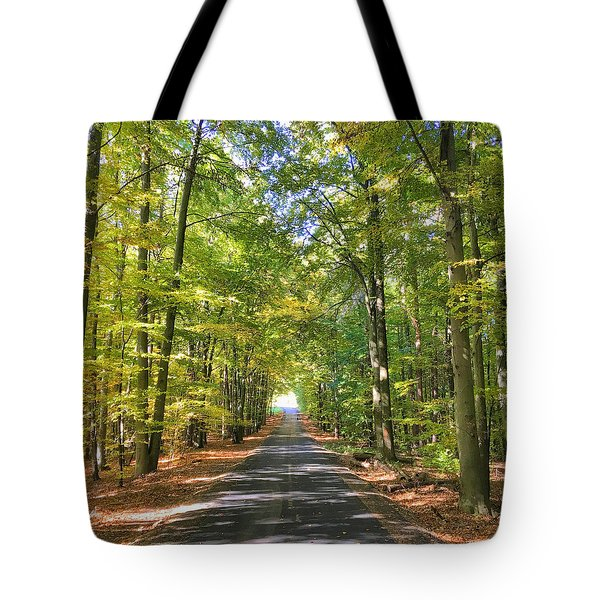 Tote Bag featuring the photograph Road In The Forrest In Austria by Chris Feichtner