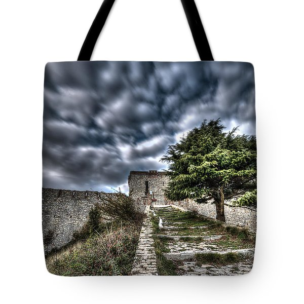 Tote Bag featuring the photograph The Fortress The Tree The Clouds by Enrico Pelos