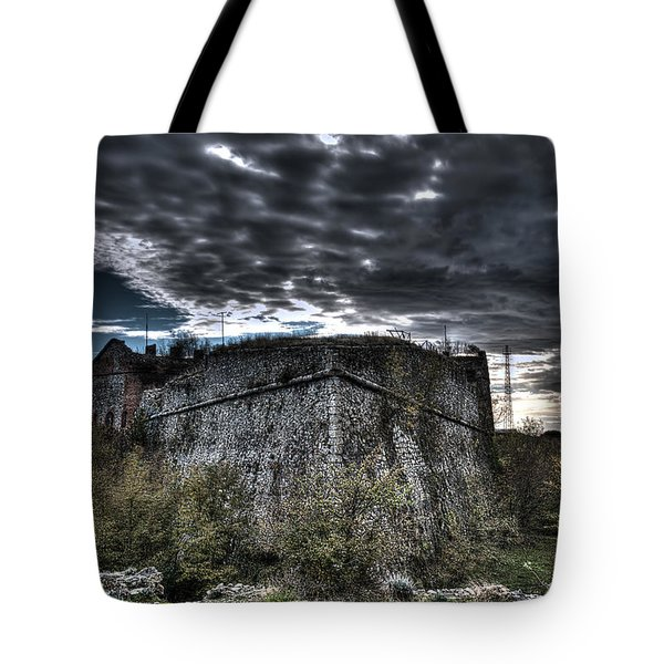 Tote Bag featuring the photograph The Fortress The Trees The Clouds by Enrico Pelos