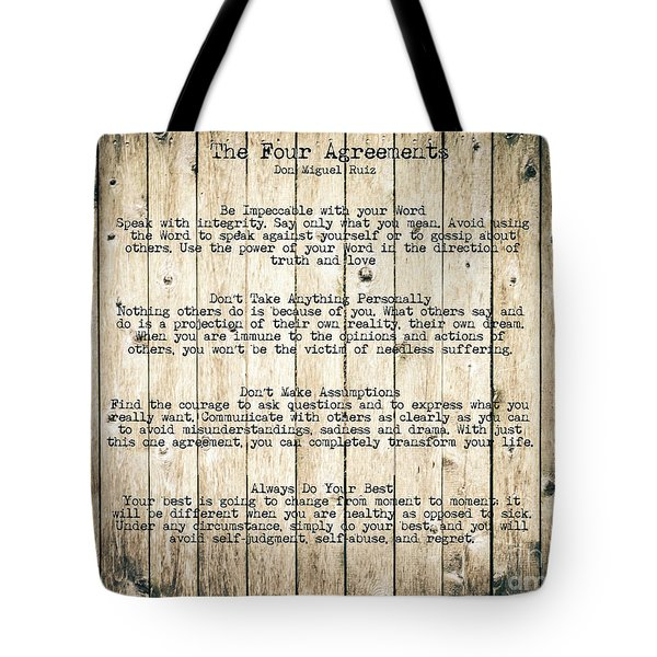 The Four Agreements 8 Tote Bag by Andrea Anderegg