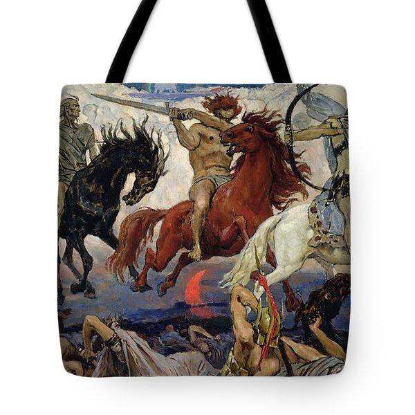 The Four Horsemen Of The Apocalypse Tote Bag by Victor Mikhailovich Vasnetsov