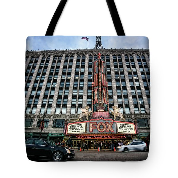 The Fox Theatre In Detroit Welcomes Charlie Sheen Tote Bag by Gordon Dean II
