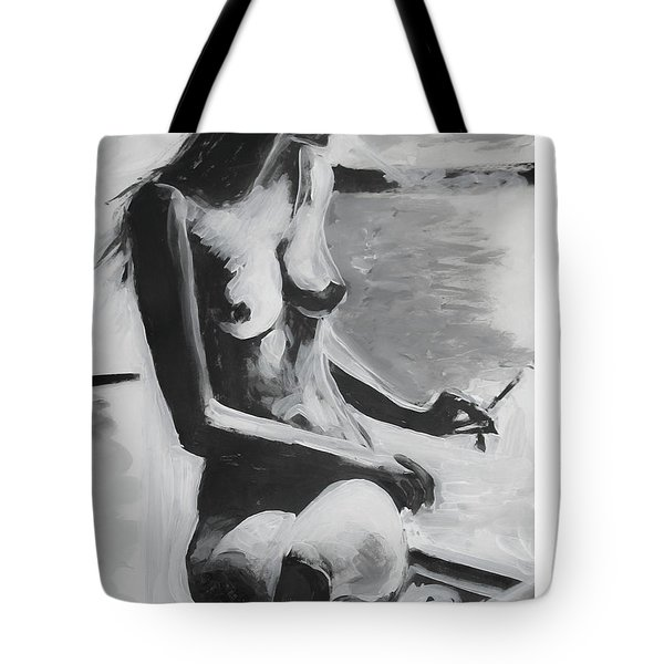 Tote Bag featuring the painting The French Balcony by Jarko Aka Lui Grande