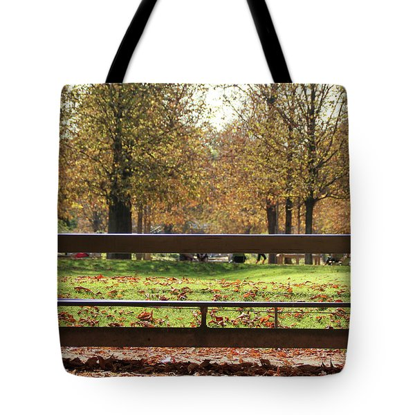 The French Bench And The Autumn Tote Bag by Yoel Koskas