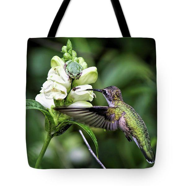 The Frog And The Hummingbird Tote Bag