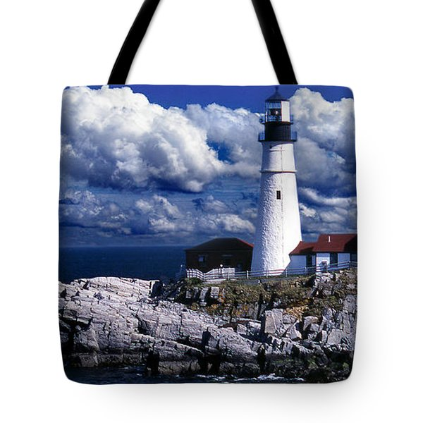 The Front At Portland Head Tote Bag by Skip Willits