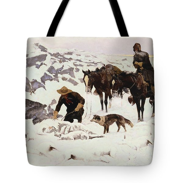The Frozen Sheepherder Tote Bag by Frederic Remington