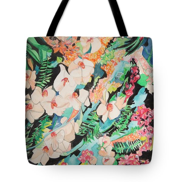 Tote Bag featuring the painting The Gallery Of Orchids 2 by Esther Newman-Cohen
