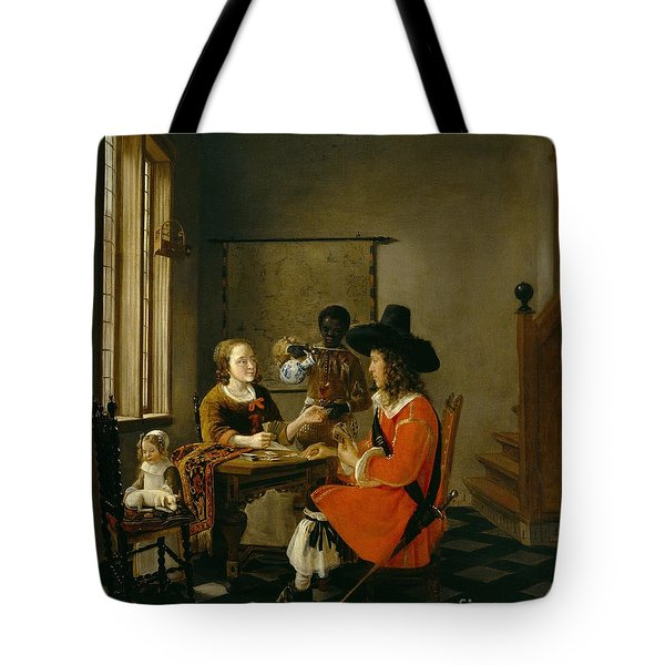The Game Of Cards Tote Bag by Hendrik van der Burch
