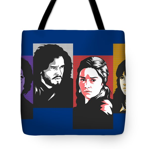 The Game Of Thrones My Favourite Characters 80s Style Jon Snow Khaleesi Tyrion Lannister Bran Stark Tote Bag