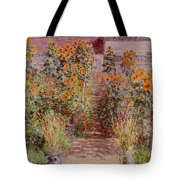 The Garden At Vetheuil Tote Bag by Claude Monet