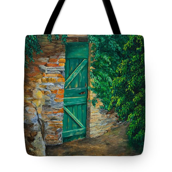 The Garden Gate In Cinque Terre Tote Bag by Charlotte Blanchard