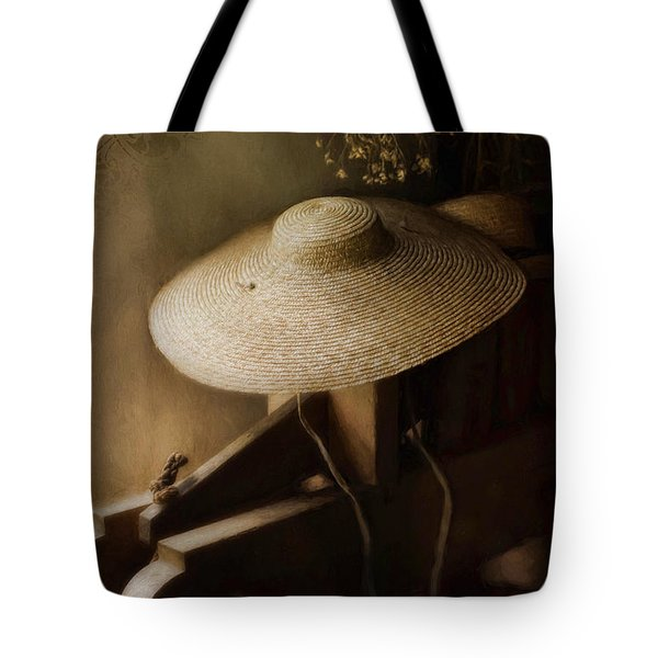 Tote Bag featuring the photograph The Garden Hat by Robin-Lee Vieira