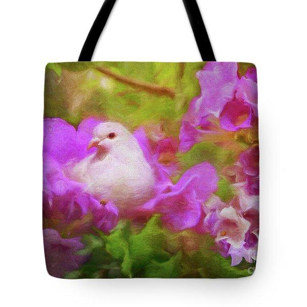 The Garden Of White Dove Tote Bag