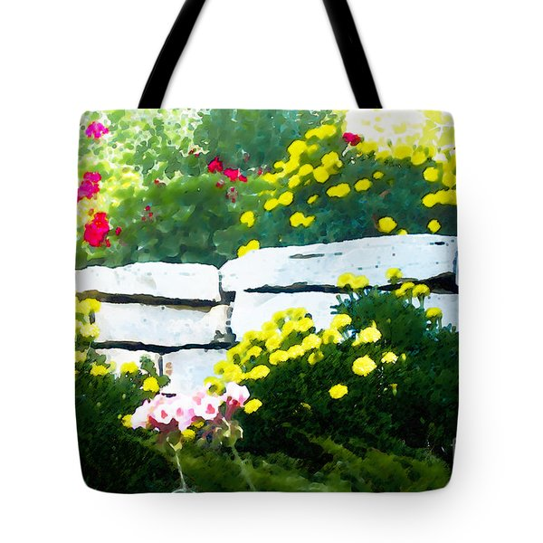 Tote Bag featuring the digital art The Garden Wall by David Blank