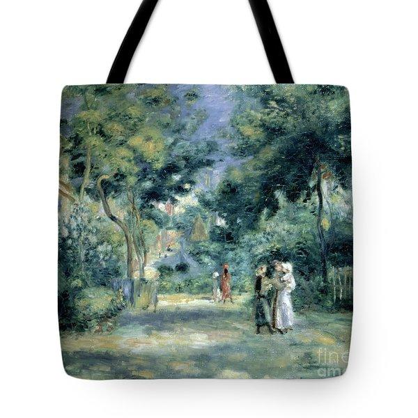 The Gardens In Montmartre Tote Bag by Pierre Auguste Renoir