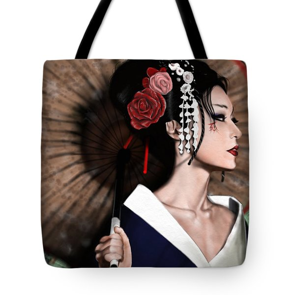 Tote Bag featuring the painting The Geisha by Pete Tapang