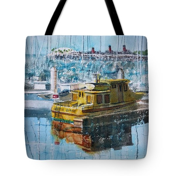 Tote Bag featuring the painting The Gentle Giant At Rainbow Harbor by Debbie Lewis