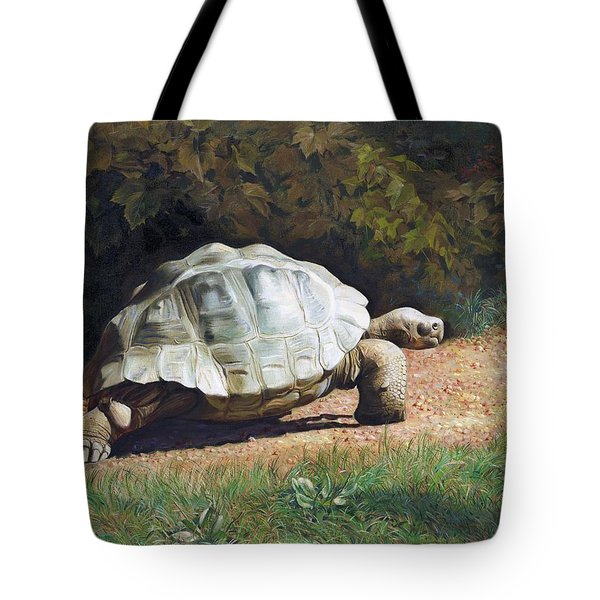 The Giant Tortoise Is Walking Tote Bag