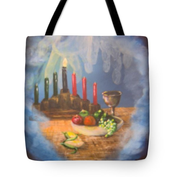 Tote Bag featuring the painting The Gift by Saundra Johnson