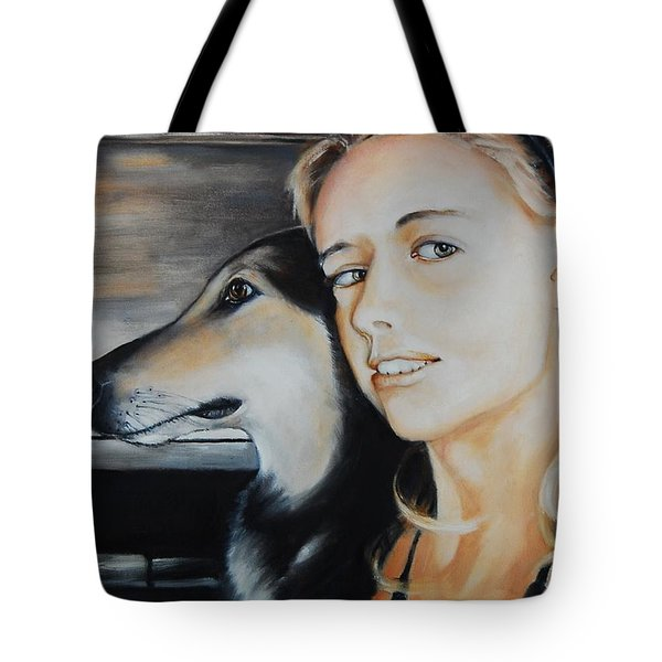 The Girl And Her Dog  Tote Bag