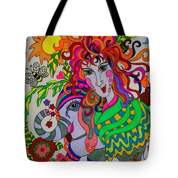 The Girl And The Elephant Tote Bag