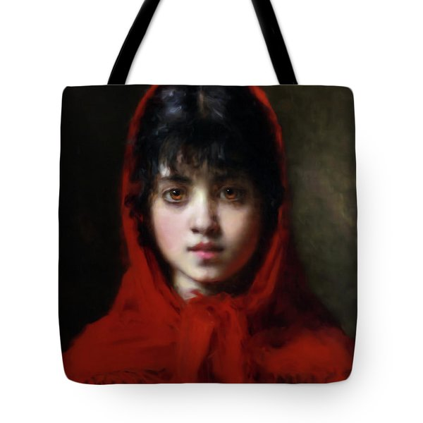 The Girl In The Red Shawl Tote Bag