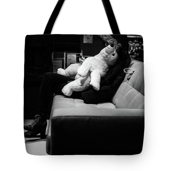 Tote Bag featuring the photograph The Girl The Polar Bear And The Phone by John Williams