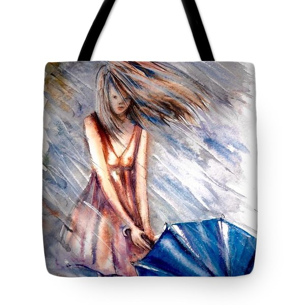 The Girl With A Blue Umbrella Tote Bag