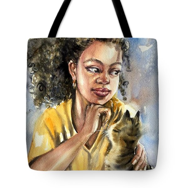 The Girl With A Cat Tote Bag
