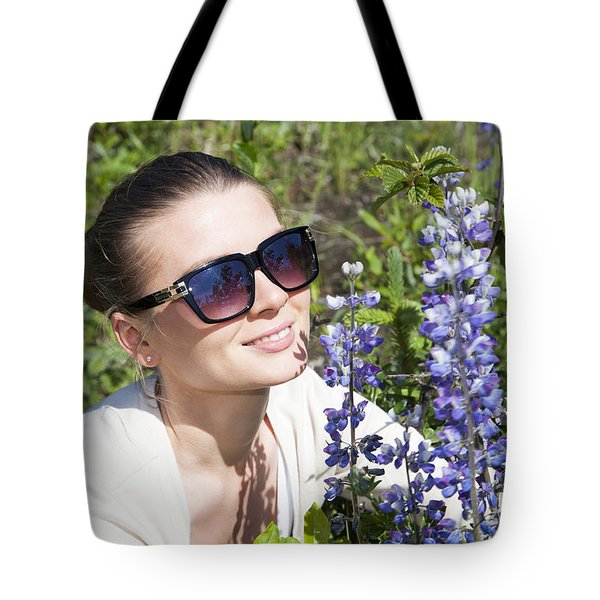 The Girl With Blue Flowers Tote Bag